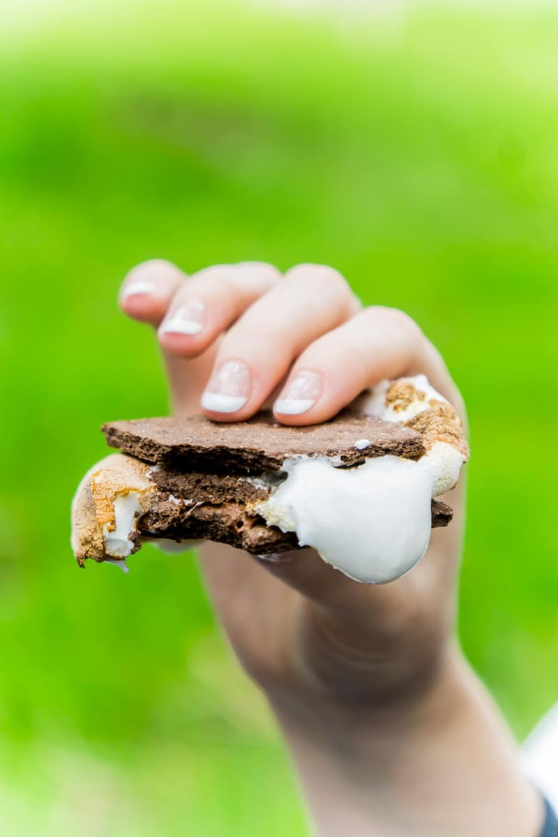 A gooey s'more created from a s'mores bar