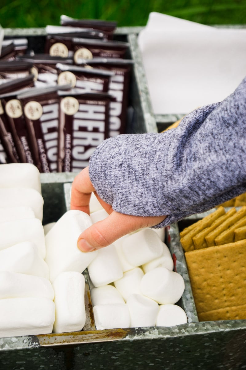 Grabbing marshmallow from a s'mores bar
