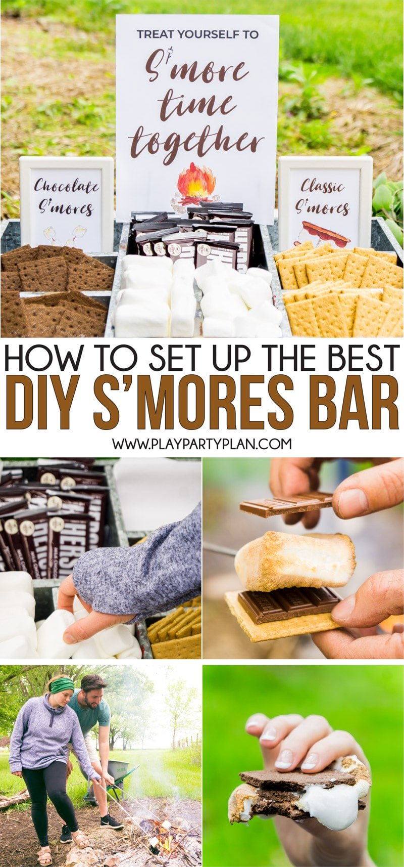 Great ideas for creating a DIY s'mores bar for a party, wedding, or just a night with friends! Tips on how to build your s'mores dessert bar and for setting it up either indoor or outdoor! And bonus - a free printable sign you can use for a menu!