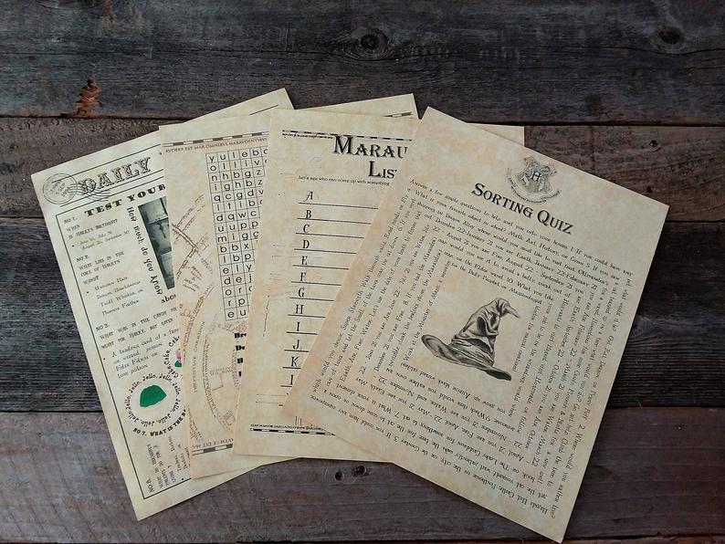 Printable Harry Potter games and quizzes