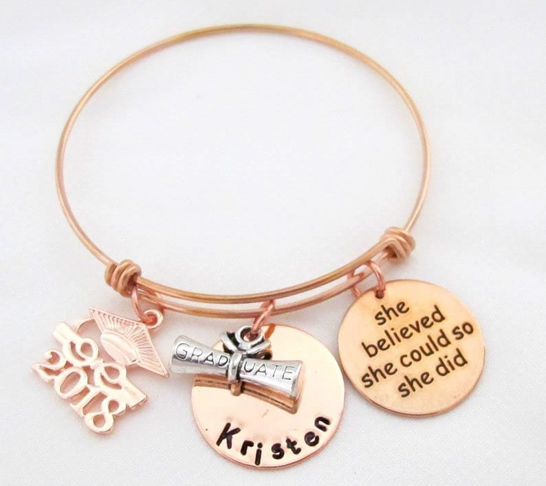 Personalized graduation gifts for her like this quote bracelet