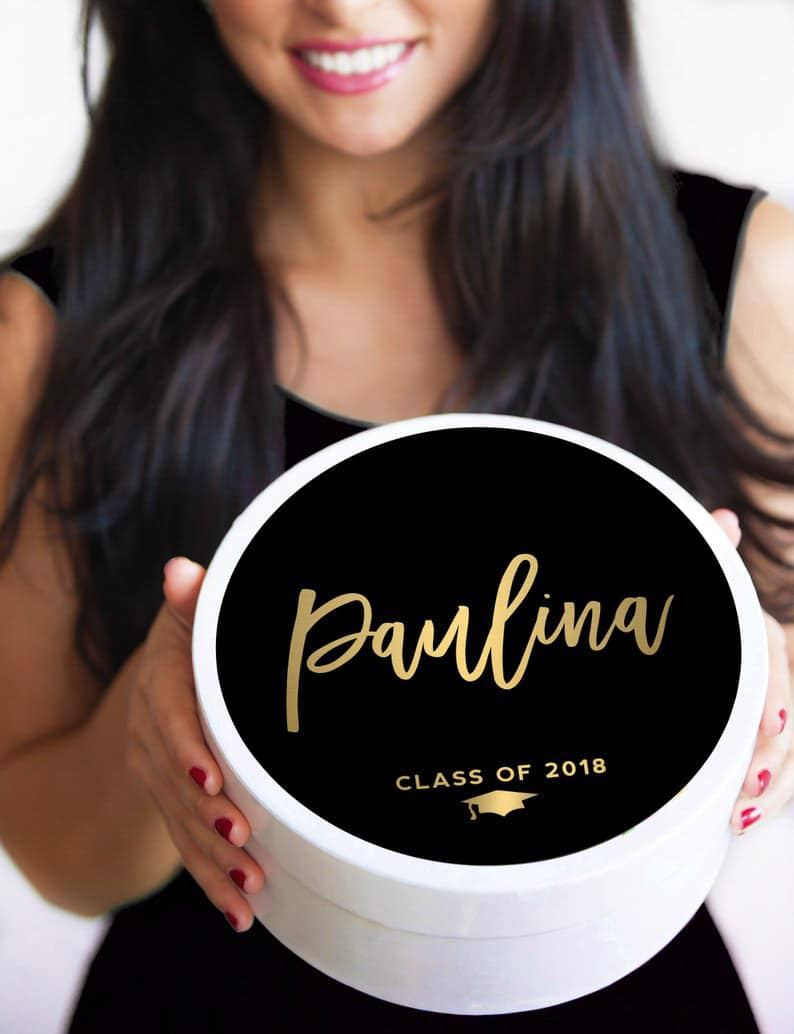 A confetti box makes a fun personalized graduation gift