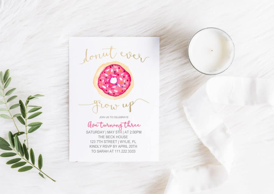 Donut grow up donut party invitations