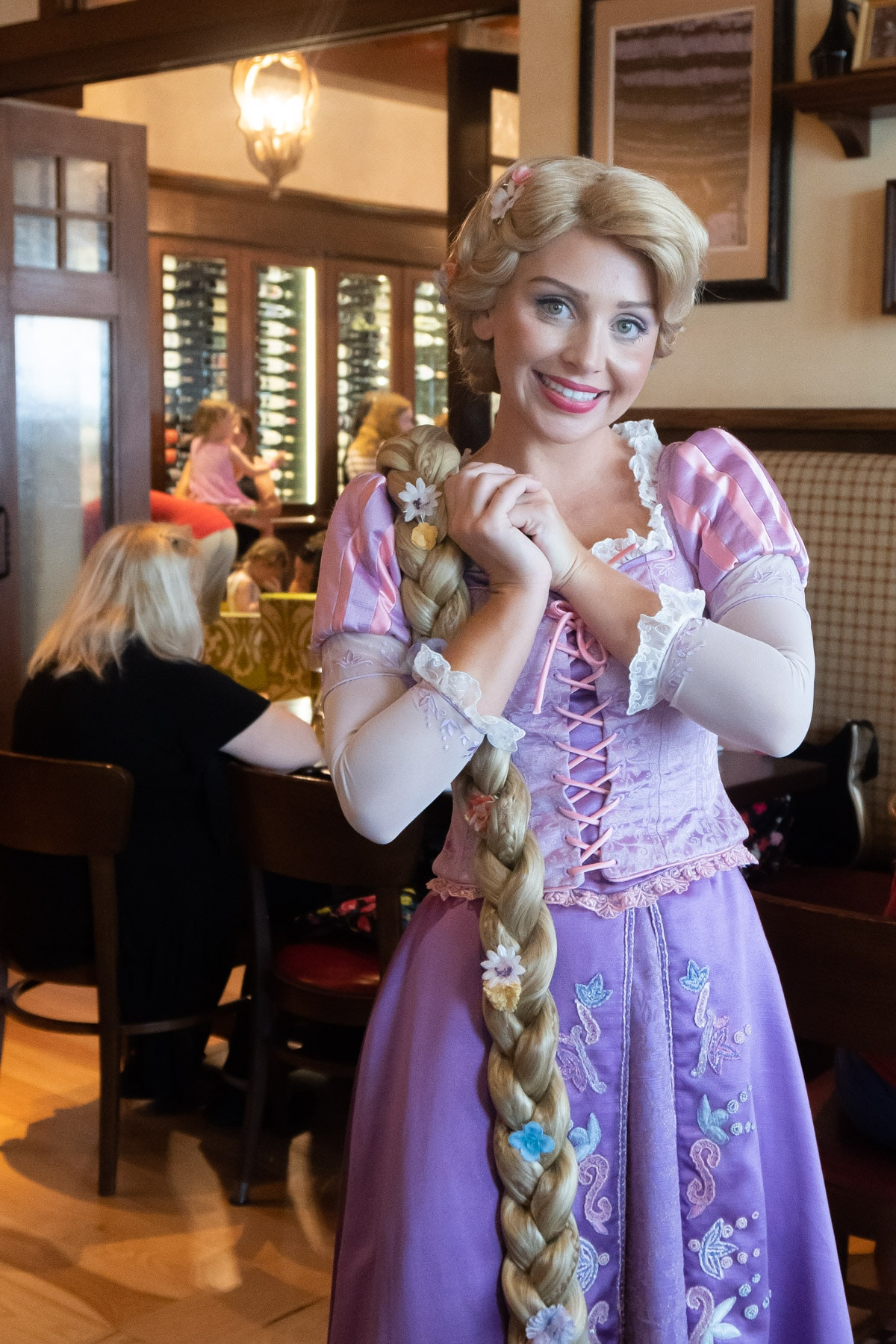 Rapunzel in purple dress at Trattoria al Forno