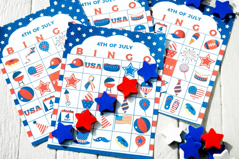 Pile of July 4th bingo cards