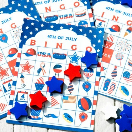 Horizontal image of 4th of July bingo cards