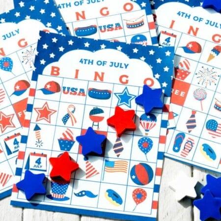 Horizontal image of 4th of July bingo cards