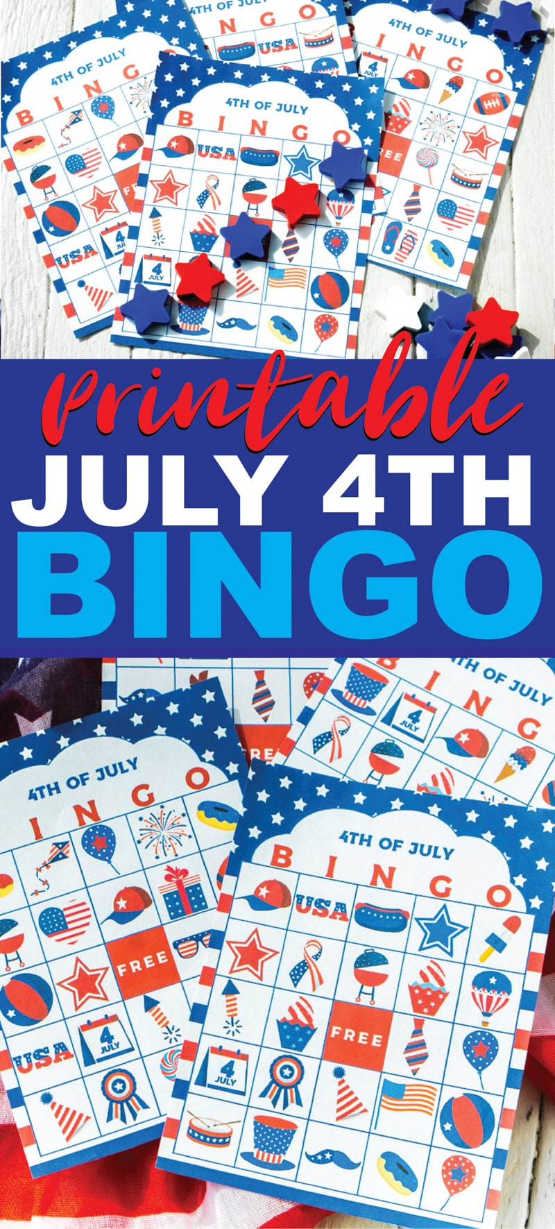 This 4th of July bingo game is perfect for kids, for adults, or for teens to play while waiting for the fireworks! Simple print out the free printable cards, hand out the markers, and start playing! One of the best activities for both indoor or outdoor parties! via @playpartyplan