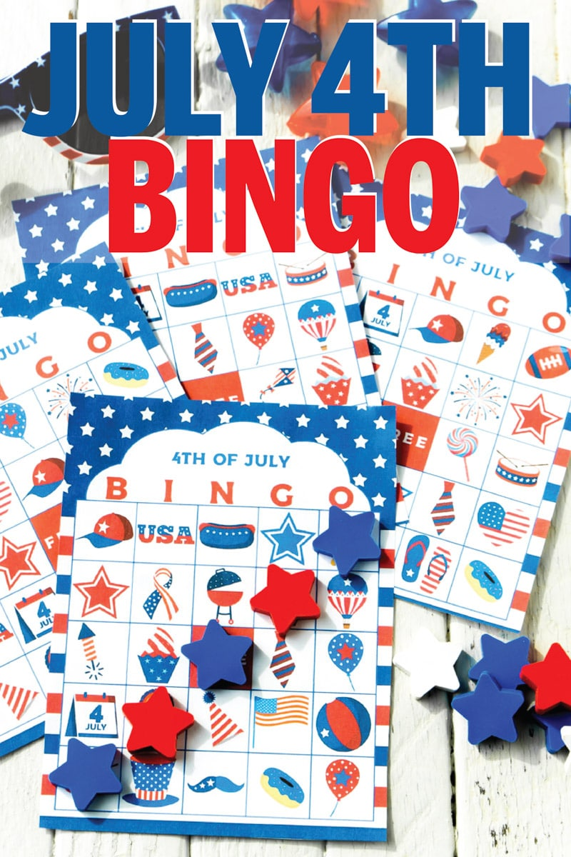 This 4th of July bingo game is perfect for kids, for adults, or for teens to play while waiting for the fireworks! Simple print out the free printable cards, hand out the markers, and start playing! One of the best activities for both indoor or outdoor parties!