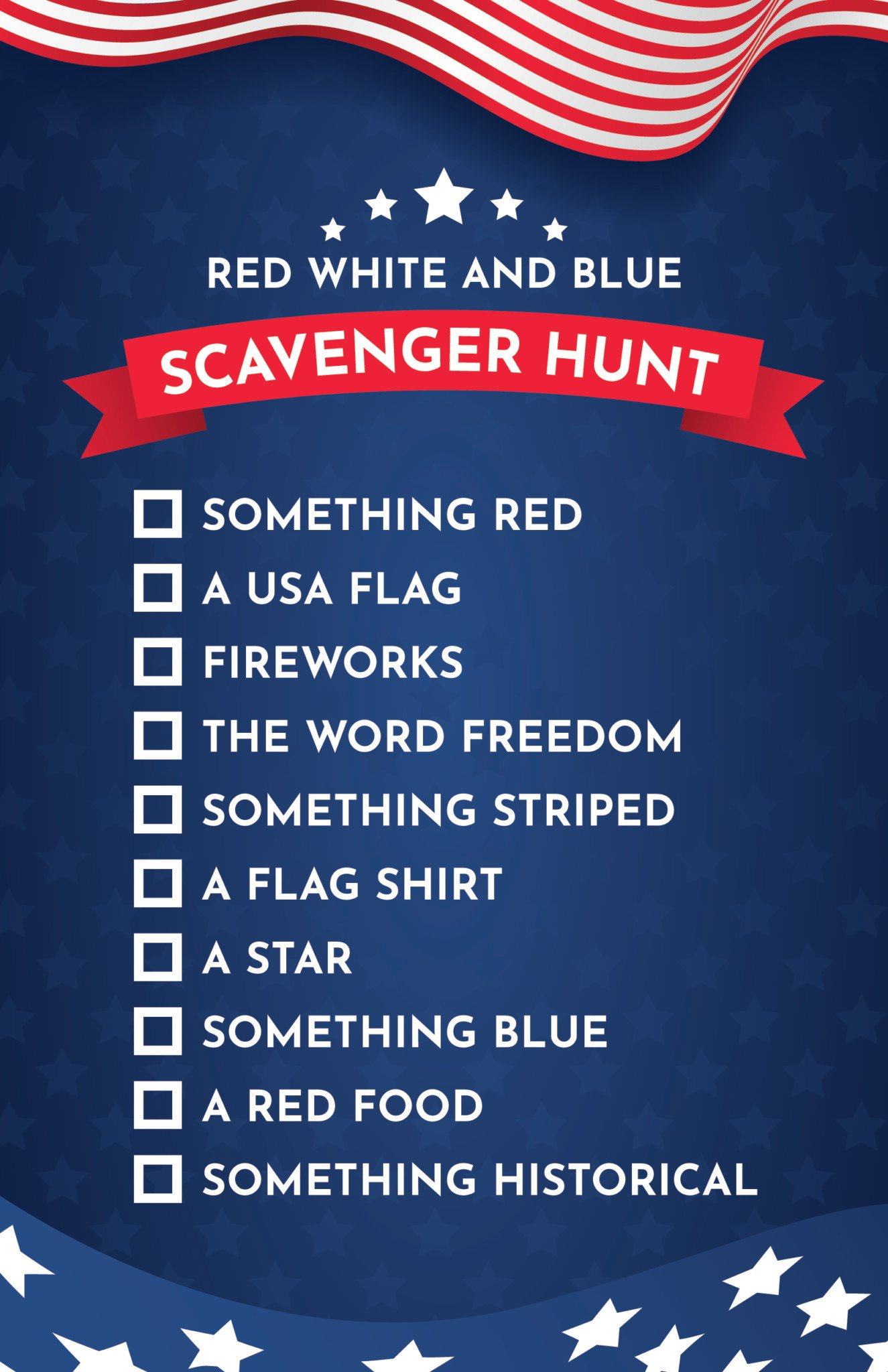 Blue 4th of July scavenger hunt with checkboxes