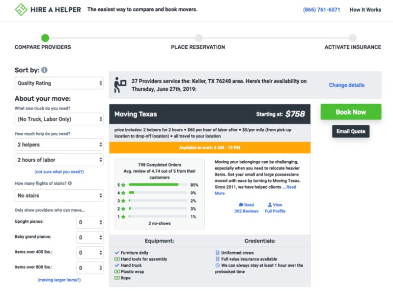 Hire a Helper website screenshot