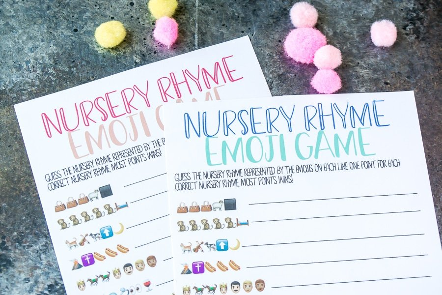 Printable baby shower emoji game