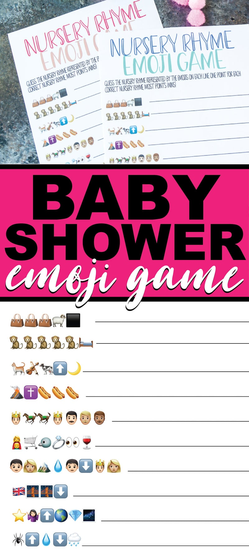 Free printable baby shower emoji games! Perfect for a baby shower party. Great for adults or even for teens at a baby shower!