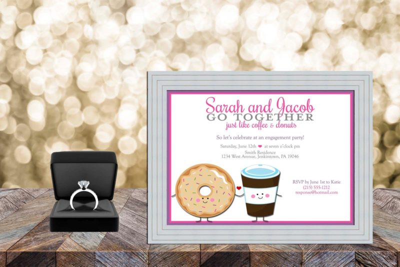 Donut party invitations for an engagement party