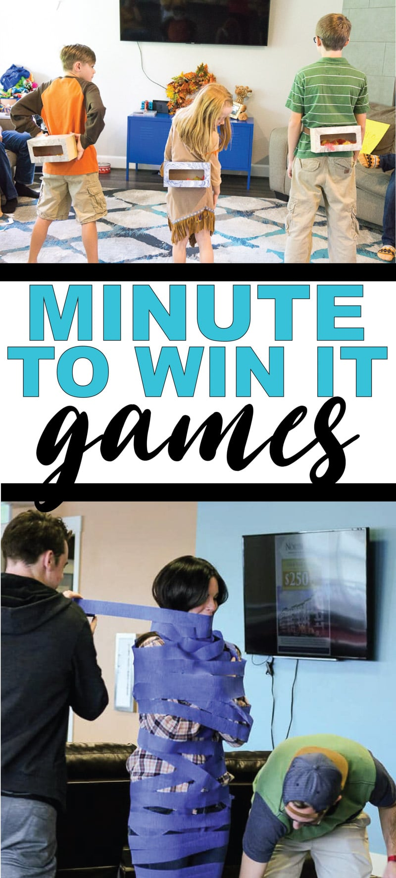 The best minute to win it games for kids, for teens, or even for adults! Over 200+ fun games that are perfect for a family reunion, for school, for school parties, and more! Easy games, fun team games, and more!