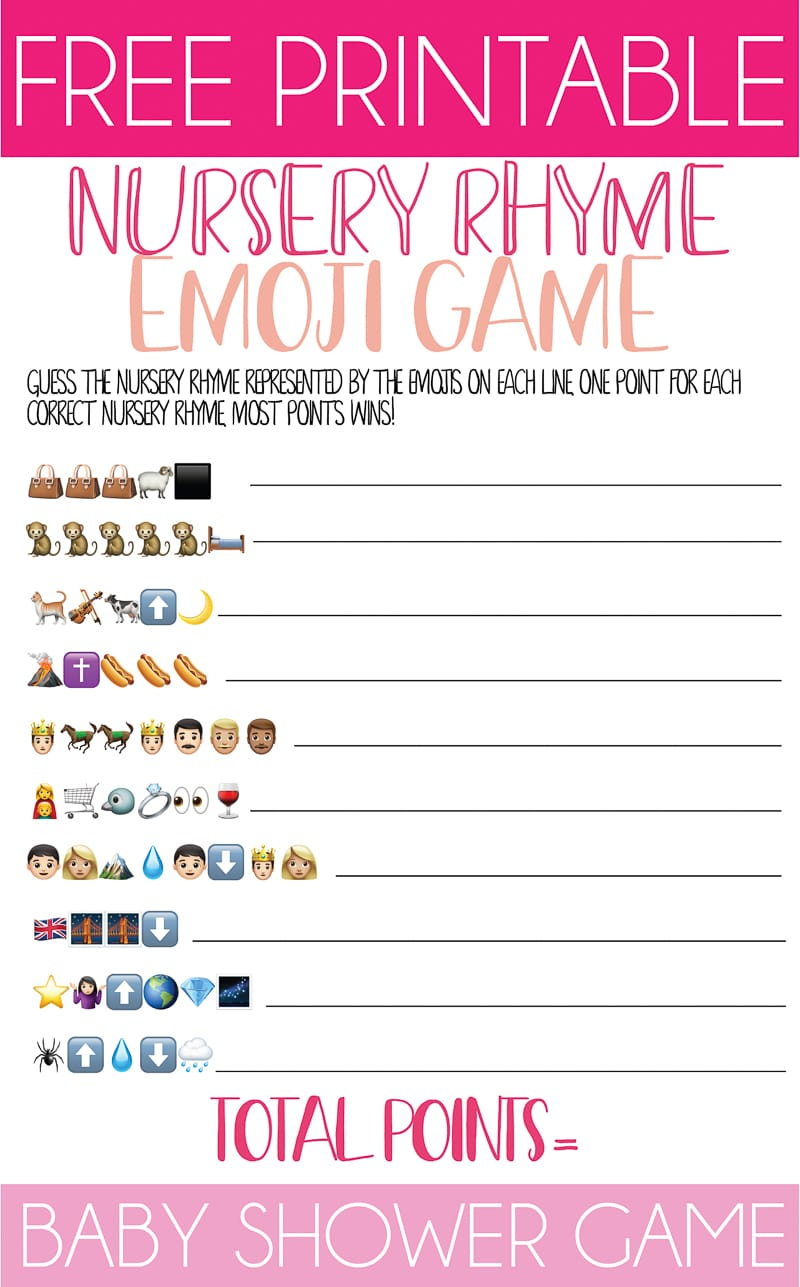 image regarding Free Printable Nursery Rhymes titled Totally free Printable Nursery Rhyme Little one Shower Emoji Recreation - Perform