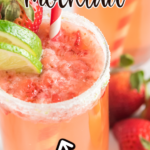 Strawberry mocktail with text for Pinterest