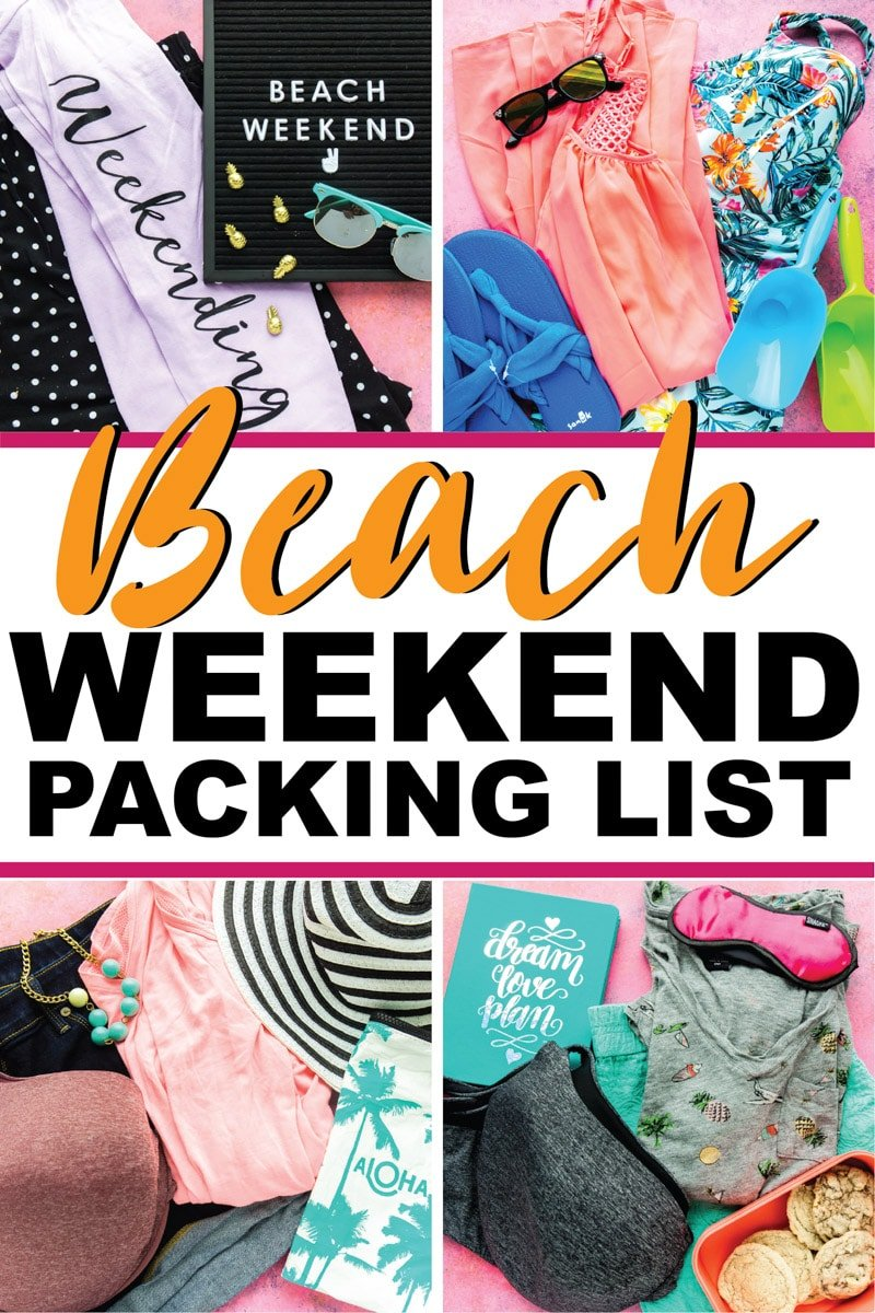 The ultimate summer beach weekend packing list! Perfect for kids, for teens, or for moms traveling with either! Pack it all in a carry on or check a suitcase even if you like to travel light.