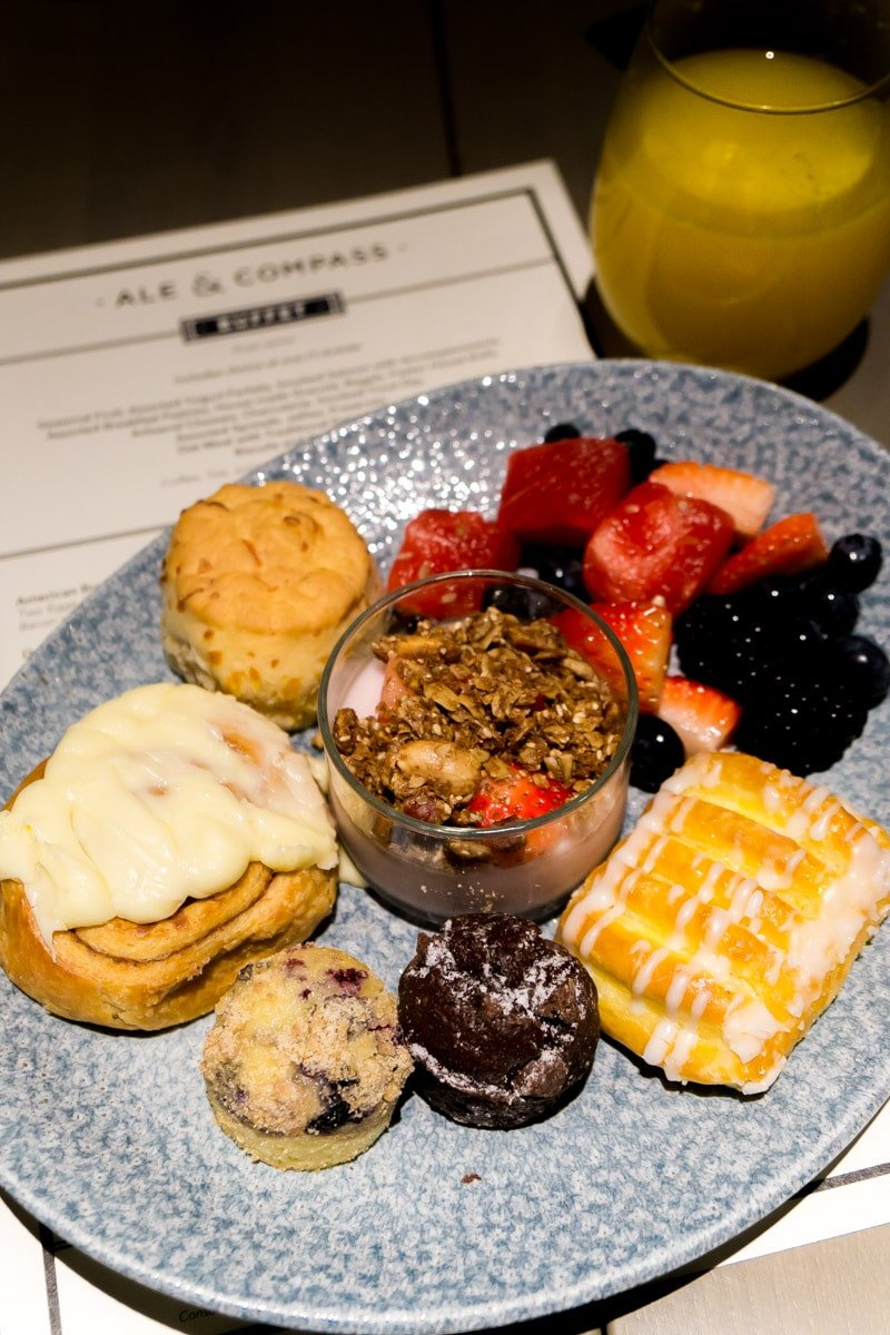 Plate of breakfast buffet food available with Disney World dining plan