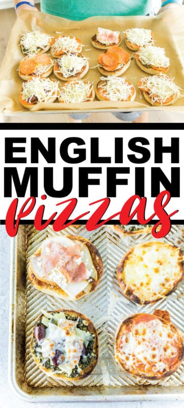 Four great English muffin pizza recipes! A healthy option, two easy toppings are perfect for kids, and the best recipe ever! Toast first then finish off in the oven. And don't forget you can toss any extras in the freezer for later - they're perfect for a quick breakfast on the go!