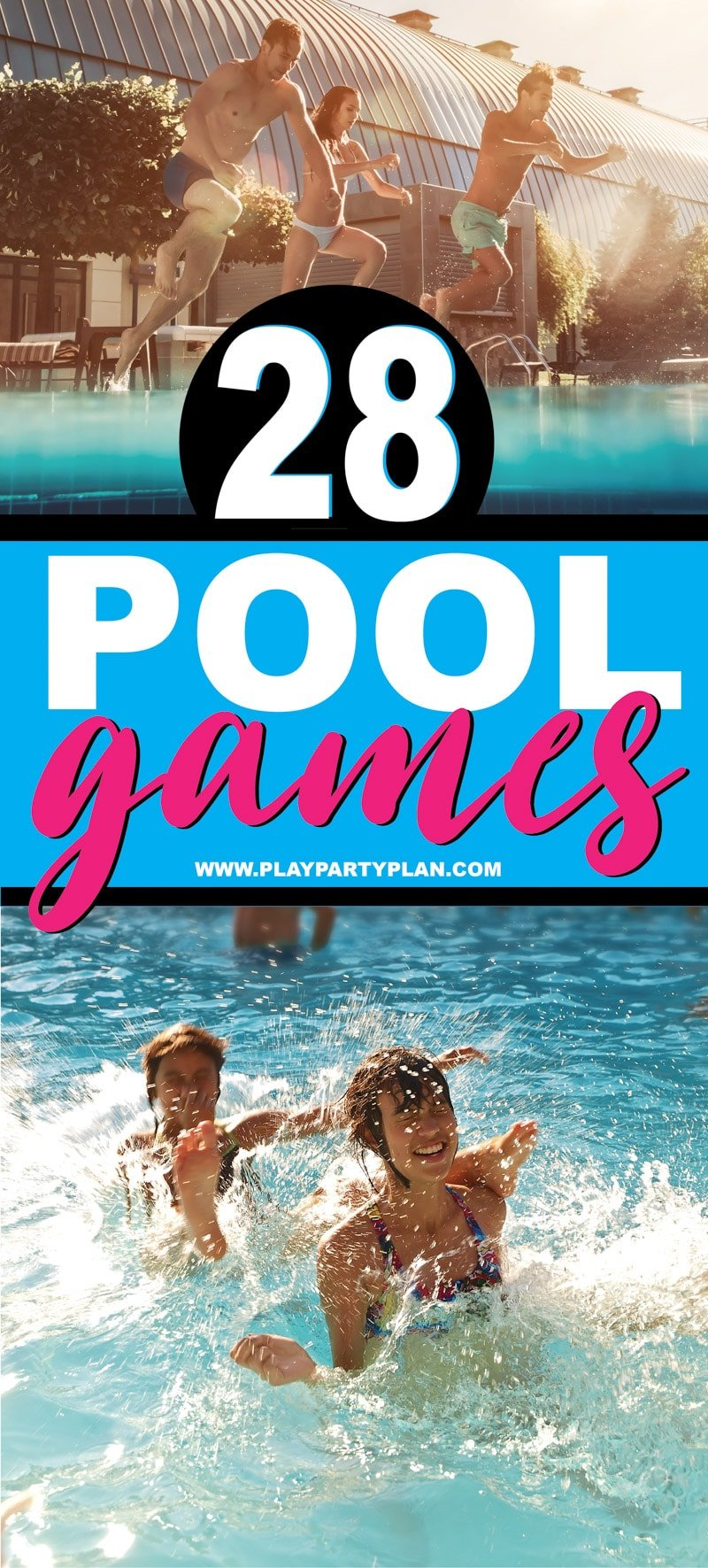 28 of the best pool games for teens, kids, or even for adults! Fun swimming pool games you can play without toys and ones you can DIY at home to play with a group at the pool! So many fun family friendly game ideas! via @playpartyplan