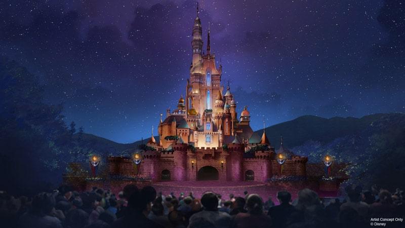 New castle at Hong Kong Disneyland.