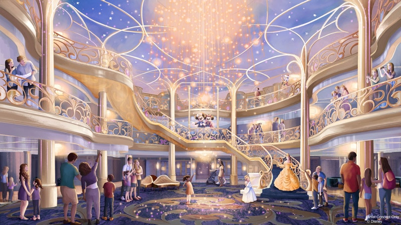 Three-story atrium on the Disney Wish