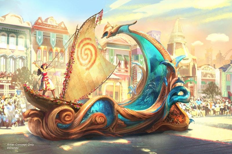Moana Magic Happens parade float