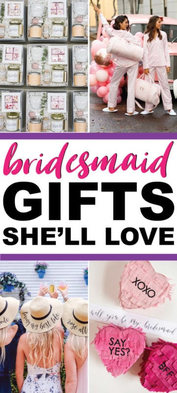 The best bridesmaid gifts from bride and gifts to ask will you be my bridesmaid. Everything from DIY gif ideas to unique ones that are both cheap and useful! Perfect for anyone looking for something personalized and inexpensive but still sentimental!