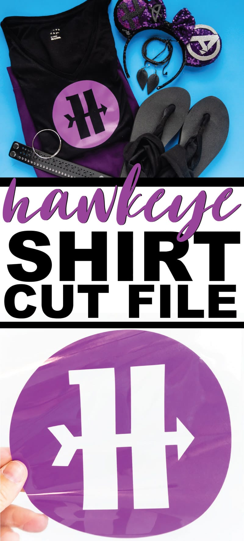Make this easy Marvel Hawkeye shirt with the free Hawkeye symbol SVG cut file! Perfect for your very own DIY costume, Disneybounding like Hawkeye, or just supporting your favorite Marvel superhero!