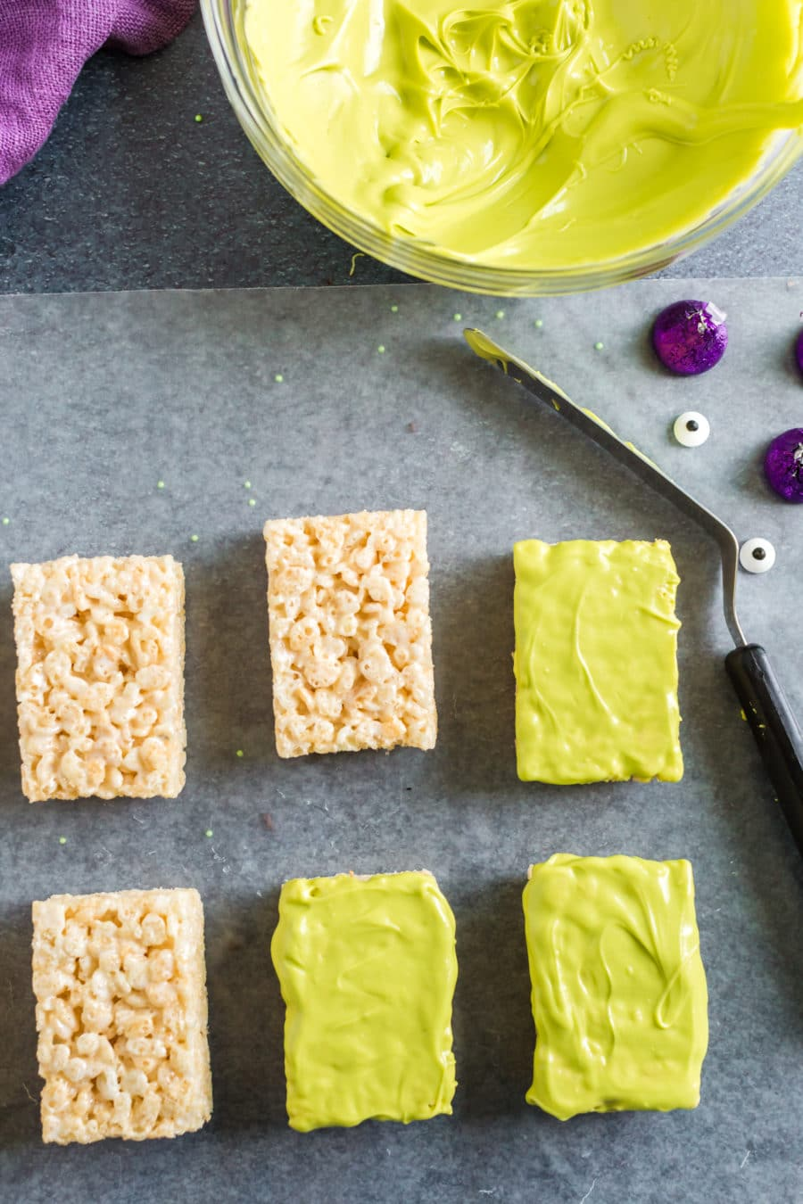 Halloween rice krispies dipped in green chocolate