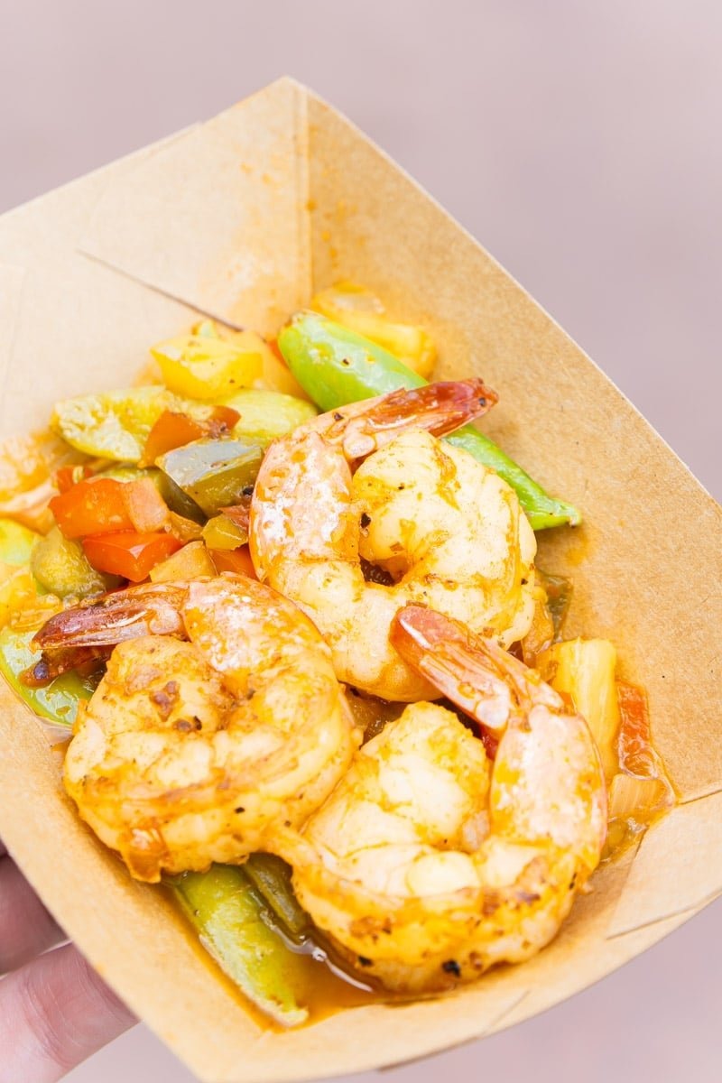 Shrimp and veggie stir fry at food and wine festival