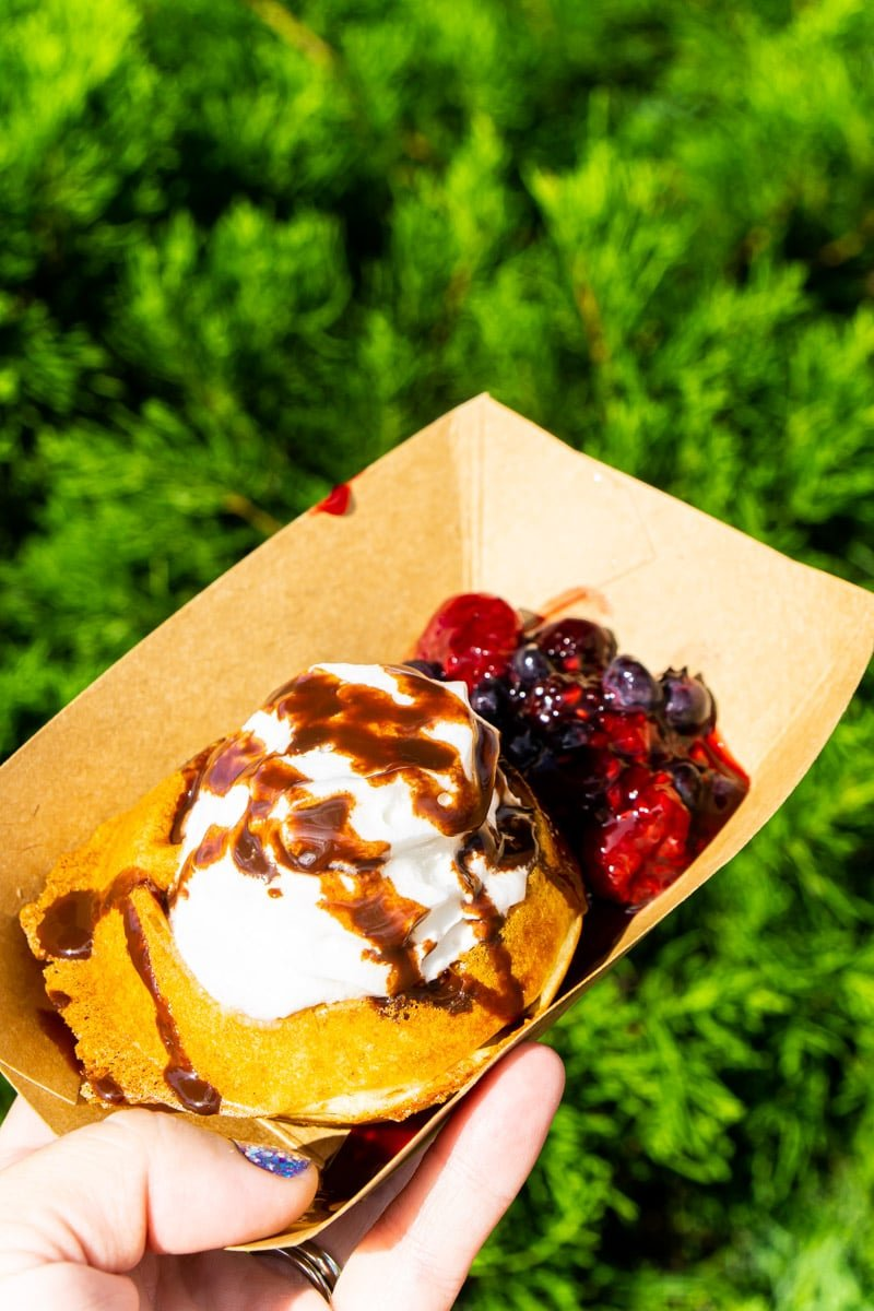 Belgian waffle from Disney food and wine festival