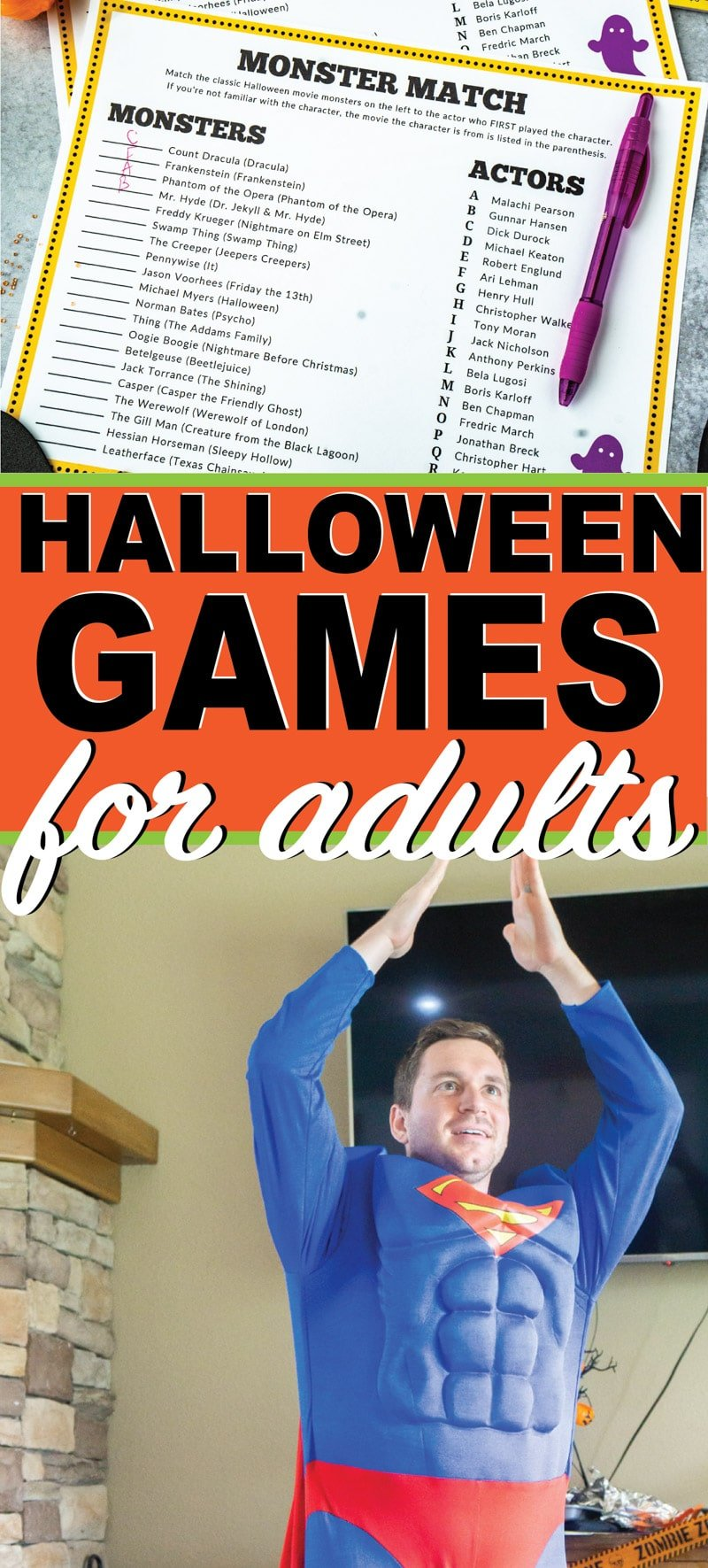 Three of the best Halloween games for adults or teens! Perfect whether you're hosting a Halloween party at work or at home! And they come with free printables making it so easy to play!