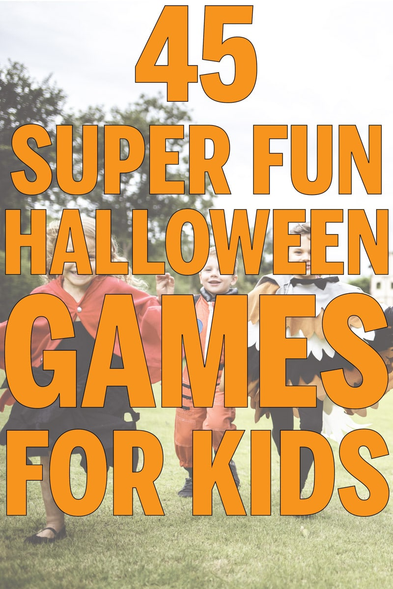 45 of the best Halloween games for children, adults, and teens! Perfect for party at home or for school classroom party ideas! Tons of easy ideas you can DIY at home! And even Halloween minute to win it games!