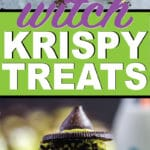 These witches are the cutest Halloween Rice Krispie treat ideas! They're simple to make, delicious, and of course cute! Such a fun idea for a classroom Halloween party, neighborhood fall festival, or any other time you need yummy Halloween recipes!
