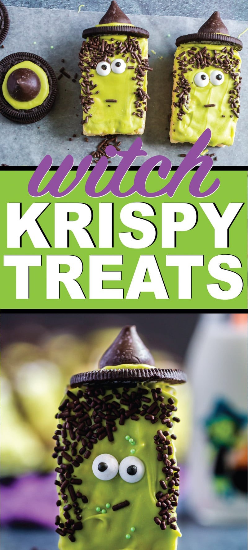 These witches are the cutest Halloween Rice Krispie treat ideas! They're simple to make, delicious, and of course cute! Such a fun idea for a classroom Halloween party, neighborhood fall festival, or any other time you need yummy Halloween recipes! via @playpartyplan