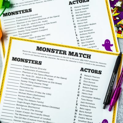 Monster Match Halloween Games for Adults