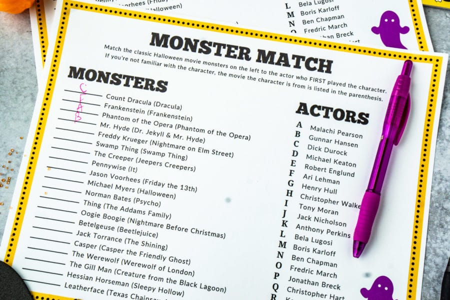 Printable monster Halloween games for adults