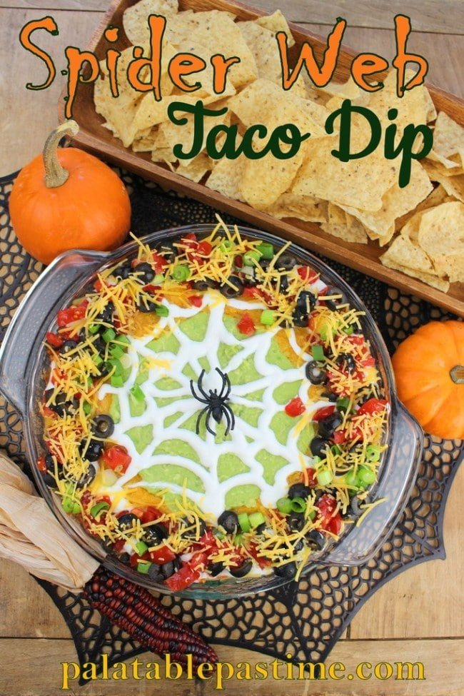 Spider web taco dip and other Halloween party food ideas