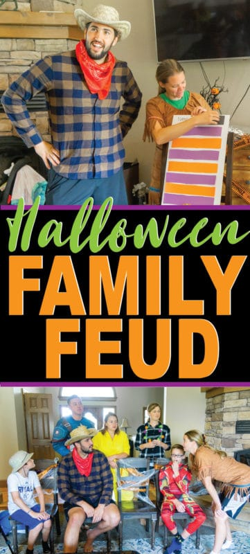 DIY Halloween family feud complete with funny questions for kids and adults! Perfect for a Halloween party or just a Halloween game to play with your family! One of the most fun Halloween games out there!