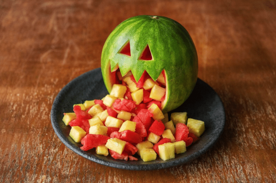 A vomiting watermelon head is one of the most fun Halloween party ideas