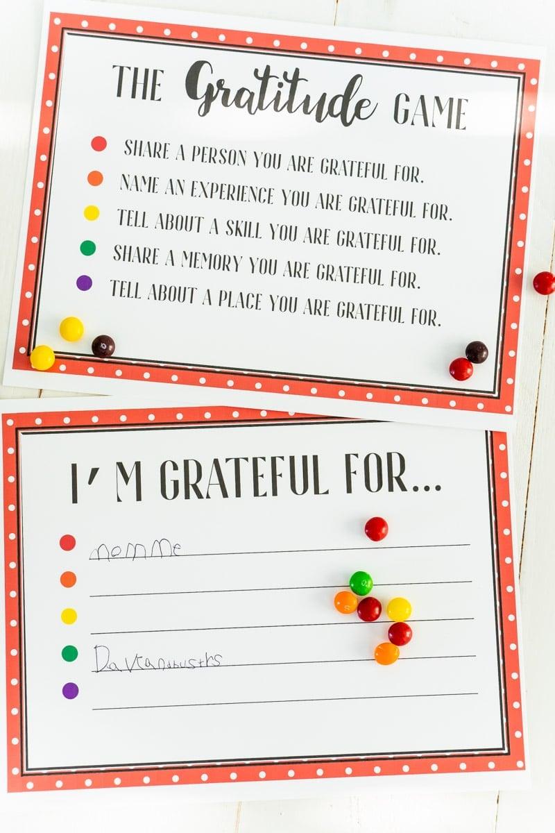 gratitude skittles game sheet
