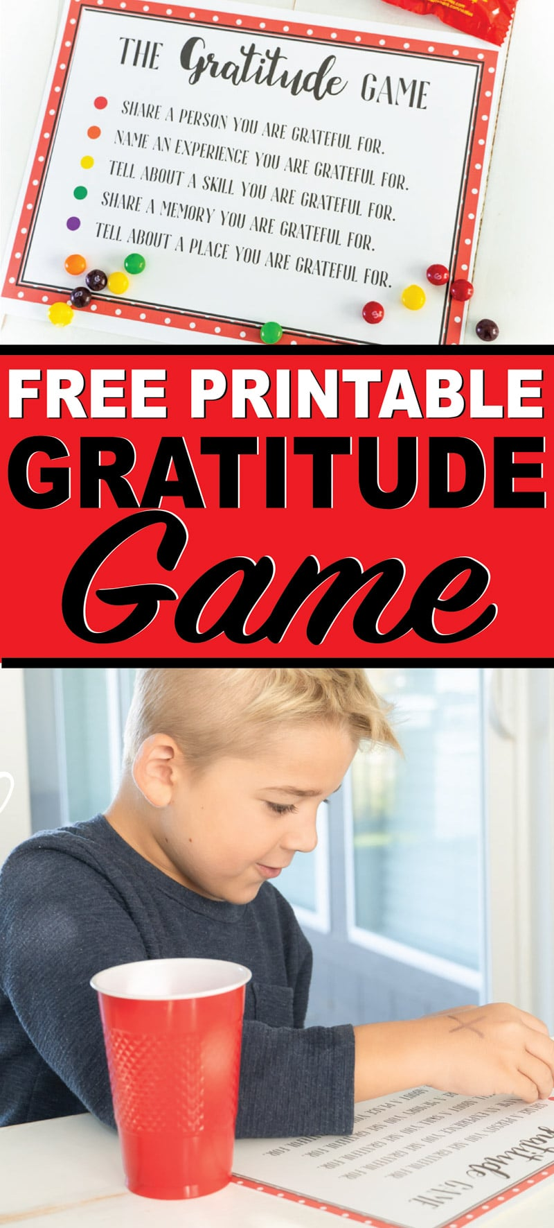 A free printable gratitude game for kids or for around the Thanksgiving table! One of the most fun Thanksgiving activities for families! via @playpartyplan
