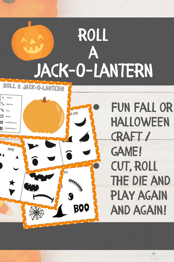Printable roll a jack o lantern game