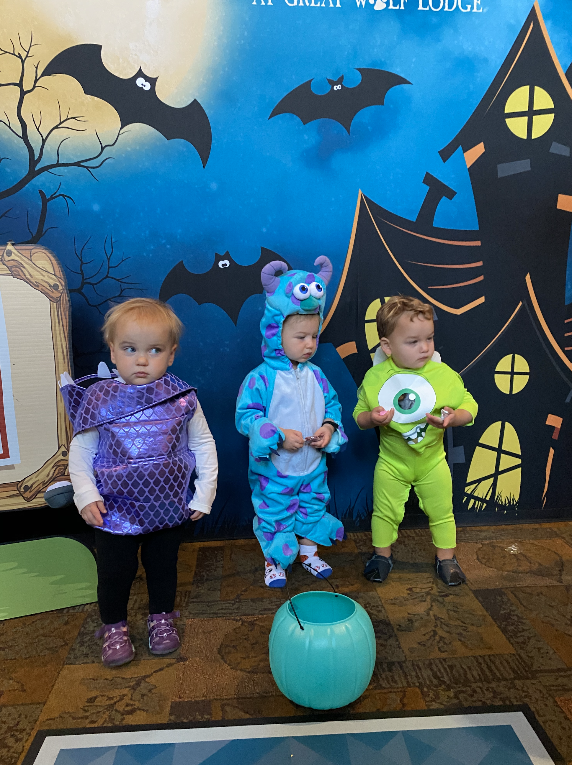 Kids in Monster Inc costumes