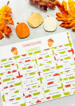 Thanksgiving charades word chart