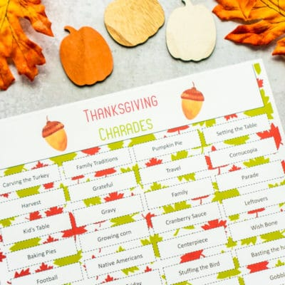Printable Thanksgiving Charades Game