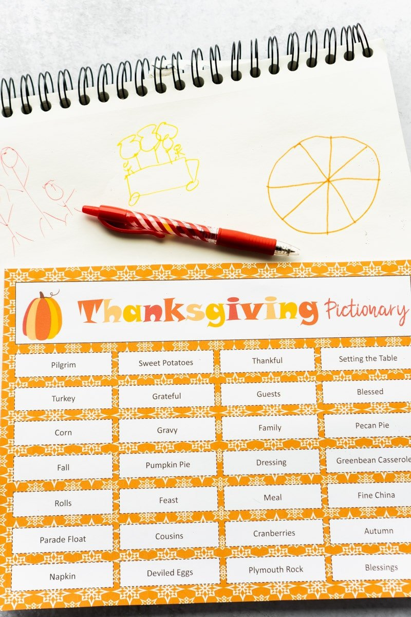 Thanksgiving pictionary pens and drawings