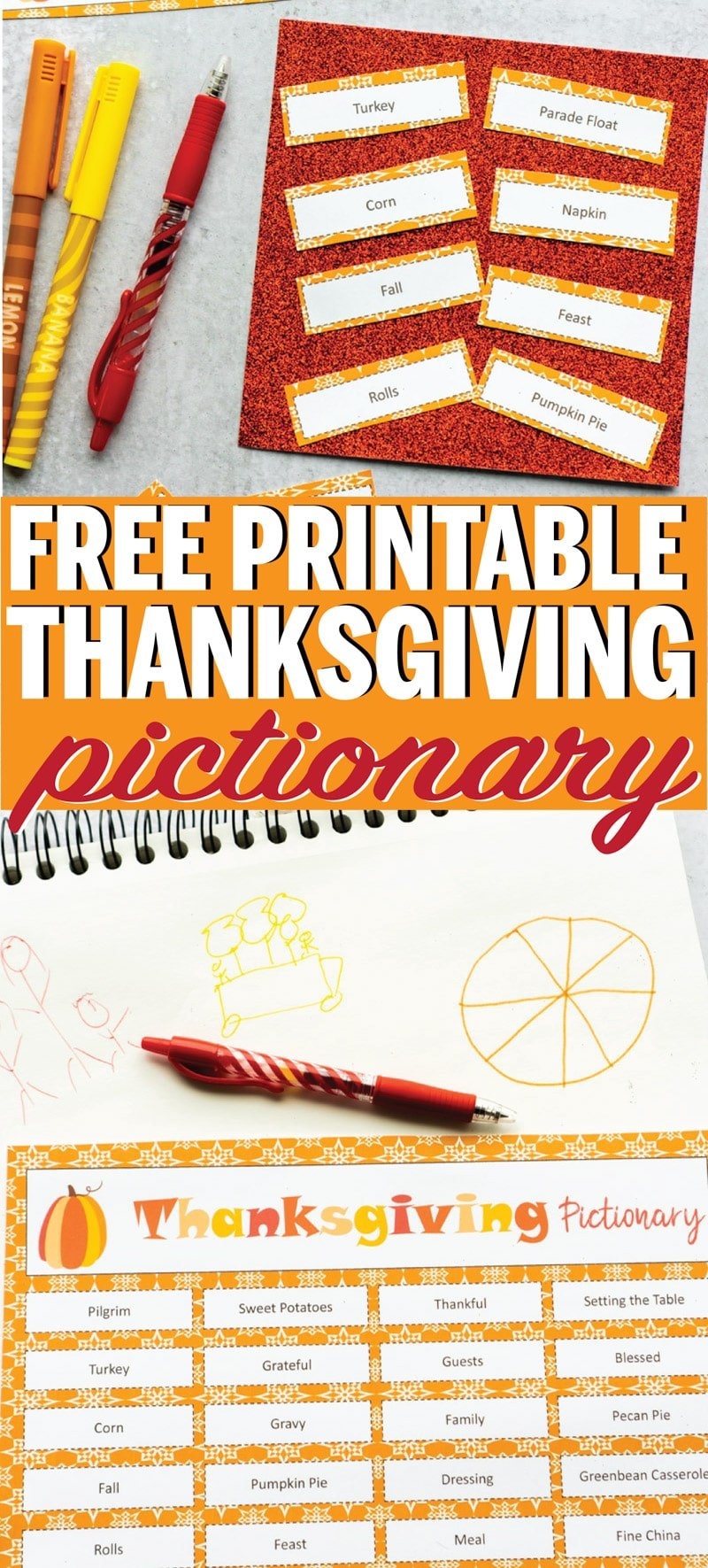 Free printable Thanksgiving pictionary words! Perfect Thanksgiving game for kids, adults, and everyone in between! via @playpartyplan